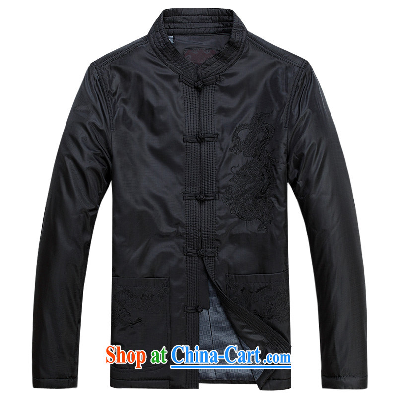Her cabinet this new middle-aged and older men's autumn and winter clothing Tang jackets large, relaxed and comfortable father T-shirt Ethnic Wind casual jacket embroidered dragon-buckle coat black 4XL