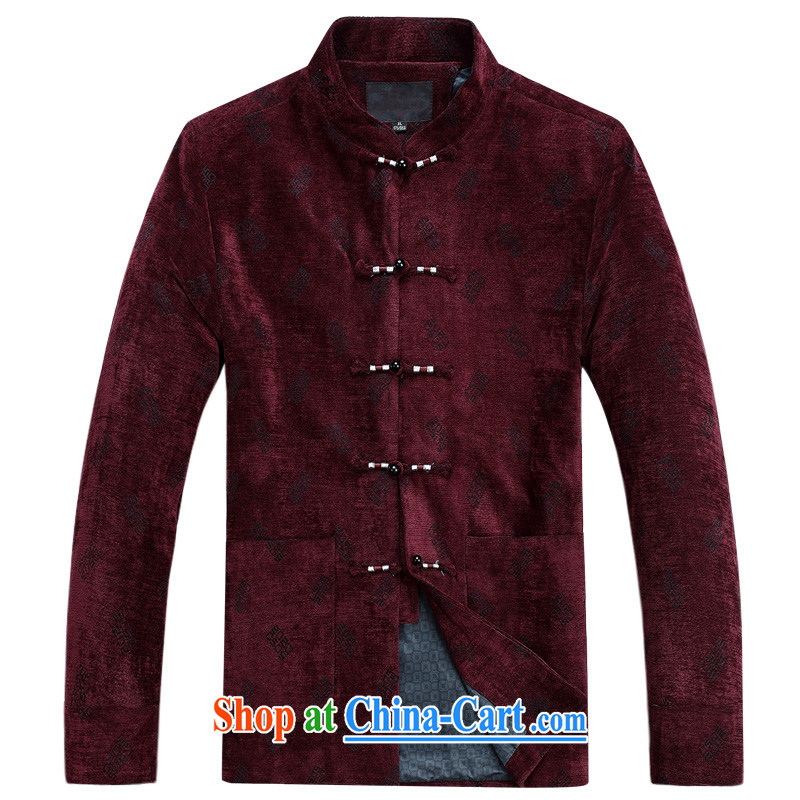 Her cabinet this new middle-aged and older men's autumn and winter clothing Ethnic Wind Chinese T-shirt, collar-tie father jacket leisure the code loose T-shirt traditional Chinese clothing red 4 XL