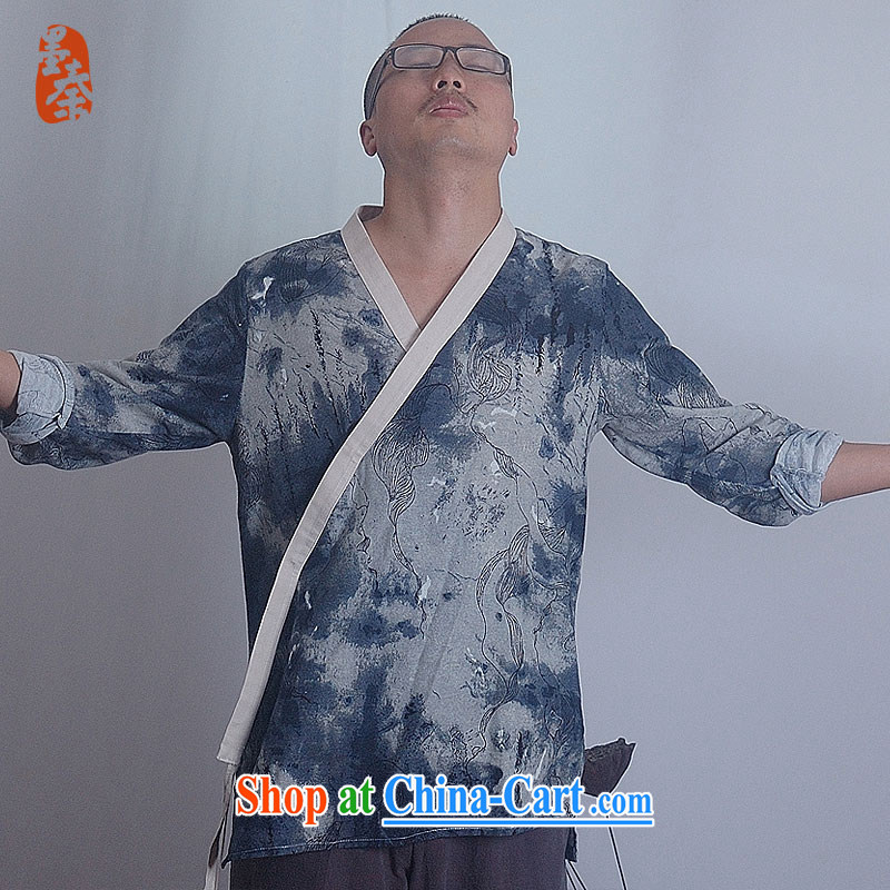 elections the Qin weaving -- original stamp China wind painting men's Lounge, serving 11,299 giant dark blue XXL_Jumbo