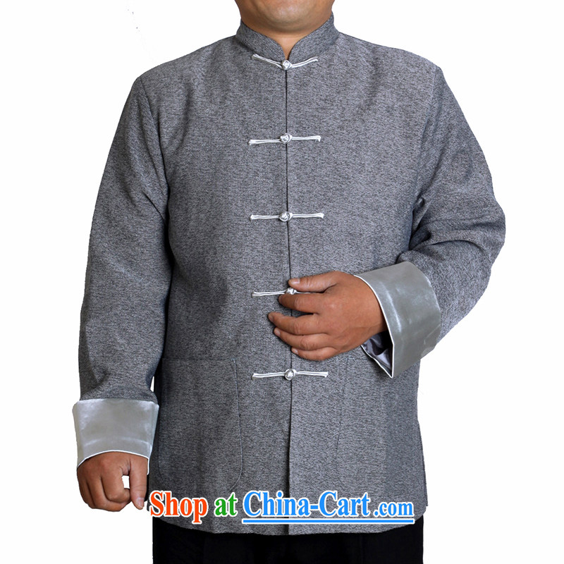 Adam 15 elderly fall and winter, older men the blended leisure Tang with his father's pure color collar jacket T 0308 gray 185 code
