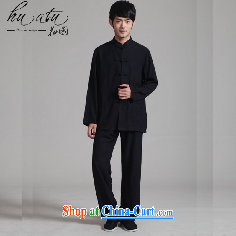 Spend the autumn and the new man, for the hard-pressed long-sleeved Kung Fu Tang fitted cotton Ma Tai Chi stage Service Package - 1 black 3 XL