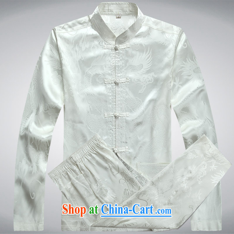 Hi concentric 2015 autumn and winter clothing men's Tang with long-sleeved T-shirt middle-aged and older Chinese men and national costumes China wind men's jackets white a XXXL