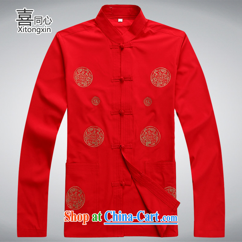 Hi concentric 2015 New Tang is in the Men's old men Tang replacing old life clothing long-sleeved Tang jackets red XXXL