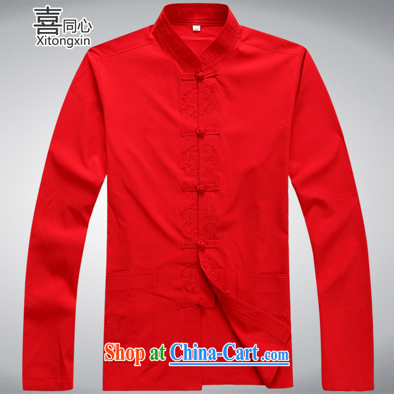 Hi concentric 2015 new men and the old men Tang jackets red XXXL