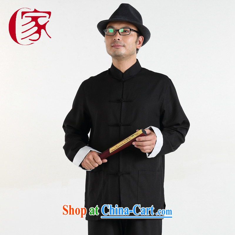 At home, my father is Chinese, Chinese men's casual long-sleeved older persons in Chinese cotton the loose package black 175/92 (L)