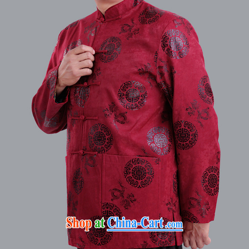 Fall_Winter men and thin cotton long-sleeved Tang jackets, old-field men and Tang with thin quilted coat upscale older clothing 1281 1281 red 190 code quilted winter,