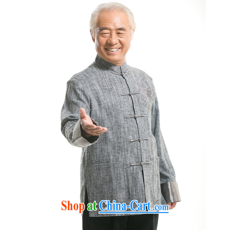 Fall_Winter new Chinese dragon embroidery Chinese long-sleeved jacket, old men cotton the Chinese jacket ethnic wind men embroidery long-sleeved Chinese F 711 gray XXXL_190