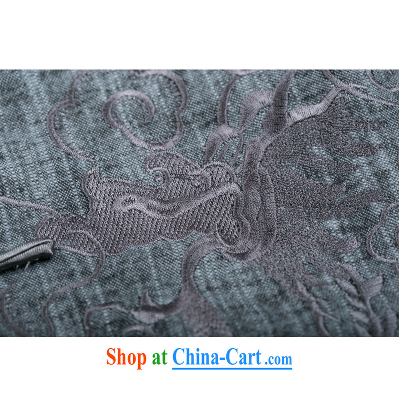 Fall/Winter new Chinese dragon embroidery Chinese long-sleeved jacket, old men cotton the Chinese jacket ethnic wind men embroidery long-sleeved Chinese F 711 gray XXXL/190, and mobile phone line (gesaxing), and, on-line shopping