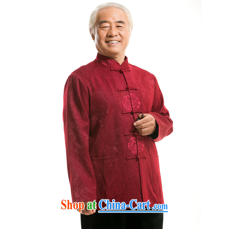 The autumn and winter clothing new middle-aged and older men's long-sleeved Tang jackets father Father China wind, serving high quality gift wine red XXXL/190