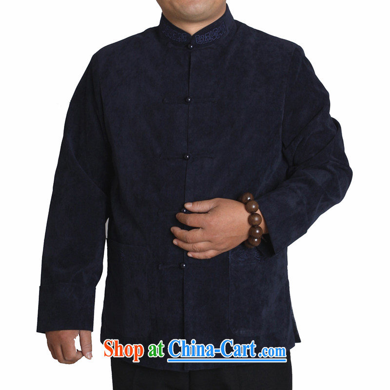 Adam's old 15 autumn and winter leisure and Tang is a solid color embroidery, older upscale male and Tang jackets Y 730 dark blue 170 yards quilted winter,
