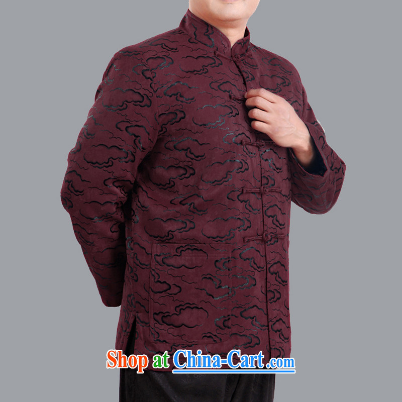 autumn and winter and loose cotton folder Tang jackets and indeed the older thin cotton men's Chinese father fall and winter clothing 1336 mauve 190 code_spring,