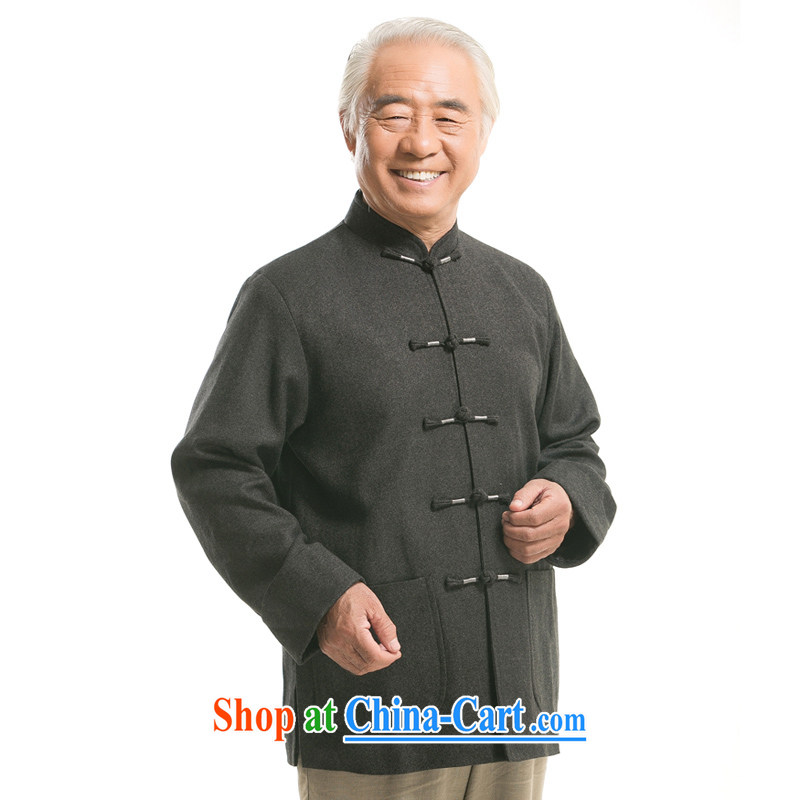 New fall/winter older upscale men and pure color Tang jackets wool blend, in older clothing and refined, for the charge-back wool blend the older Chinese, dark gray XXXL/190