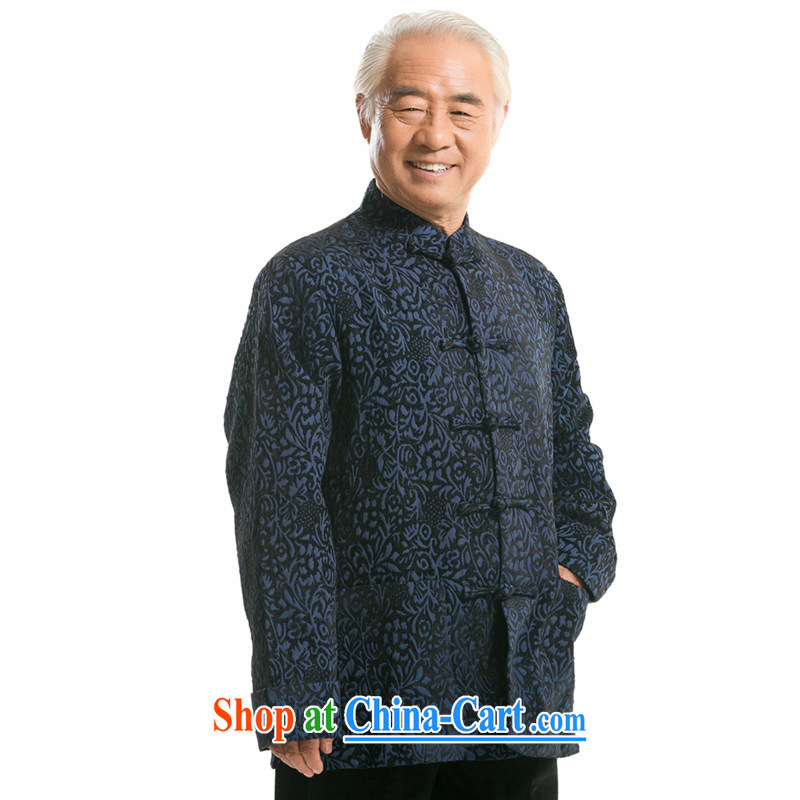 Fall/Winter new high quality jacquard long-sleeved Tang jackets ethnic wind older, for the charge-back long-sleeved Tang jackets high quality jacquard snow Tang with his father with Royal Blue, Autumn XXXL/190