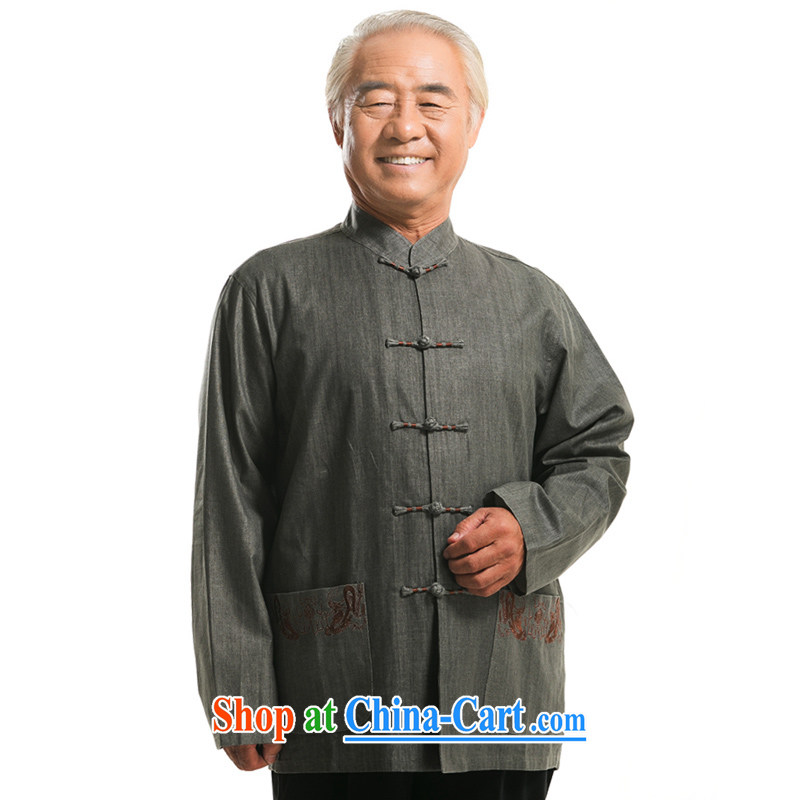 F 0722 elderly people in autumn and winter cotton the Chinese men's long-sleeved Tang jackets Chinese men, for the charge-back linen father with dark gray XXXL/190
