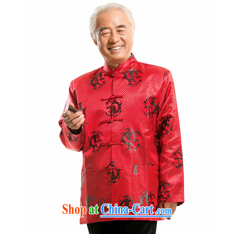 0756 F this life, in particular recommended that older people fall and winter Chinese Chinese dragon long-sleeved jacket Dad loaded male red Black Dragon L/175