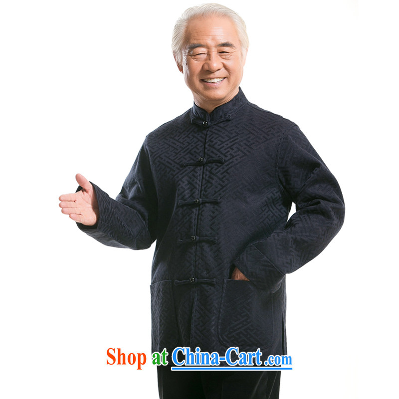 F 0770 autumn and winter in good old man Tang jackets cotton older clothing arm cuff Tang Replace T-shirt blue XXXL_190