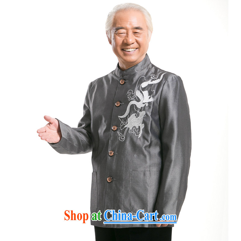 0733 F men cultivating long-sleeved Chinese men and Chinese improved Tang loading loading fall T-shirt Chinese ? Dragon national costumes gray XXXL/190