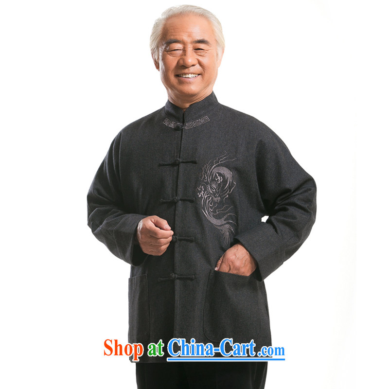 F 0768 middle-aged and older men's long-sleeved Chinese men and the shoulder-sleeve Tang with autumn and winter the gross volume is short sleeves with ethnic costumes dark autumn, XXXL/190