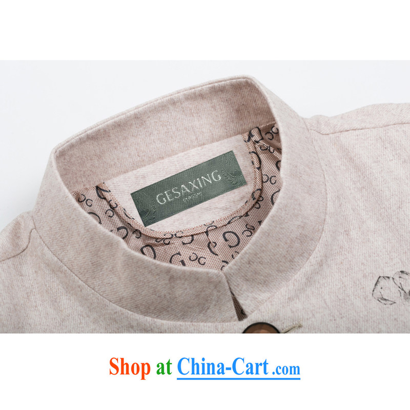 Men's long-sleeved fall/winter wool Tang jackets men Tang with autumn and winter jackets with older persons in autumn and winter wool Chinese, for long-sleeved jacket Chinese improved Han-beige XXXL/190, and mobile phone line (gesaxing), and, on-line shop