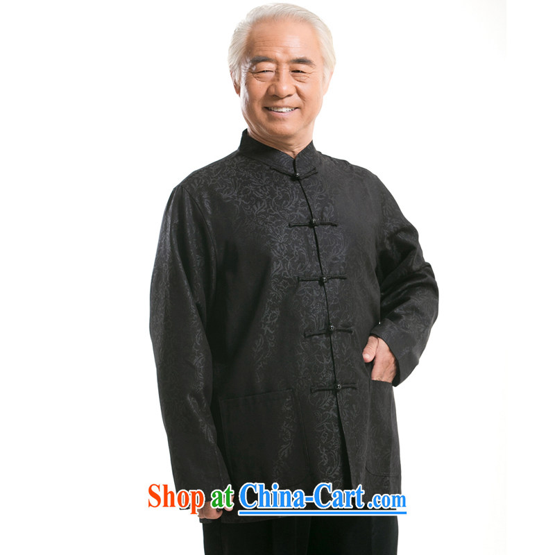 F 0799 new men's cotton long-sleeved winter home Tang/older Chinese leisure T-shirt jacket National Black XXXL/190