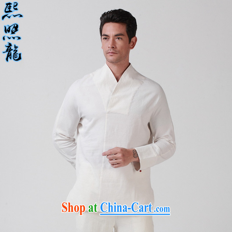 Hee-snapshot Dragon original male Chinese Han-Chinese scholar of the costumes for men's day, linen Chinese improved Chinese White 180