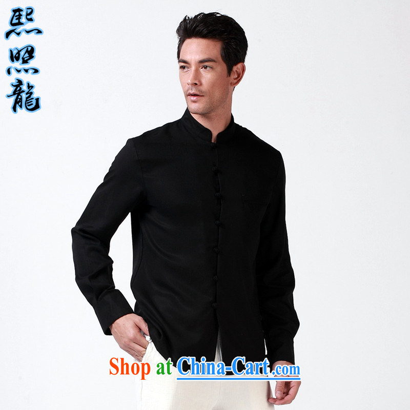 Hee-snapshot Dragon 2015 spring and fall new black long sleeved national-tie shirt shirt Chinese men and long-sleeved T-shirt beauty black XL