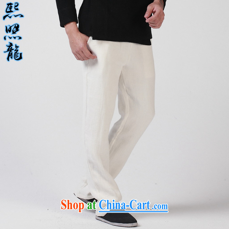Mr Chau Tak-hay, as the original high-end double-thick wrinkled linen men's casual pants Chinese Elasticated waist small, straight leg trousers green XL