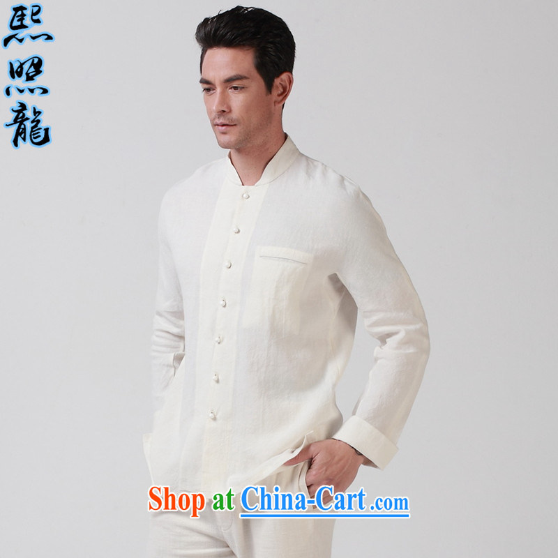 Mr Chau Tak-hay, snapshot original Buddhist 7 PO and crucial tie men loose Chinese solid long-sleeved shirt Chinese shirt white XL