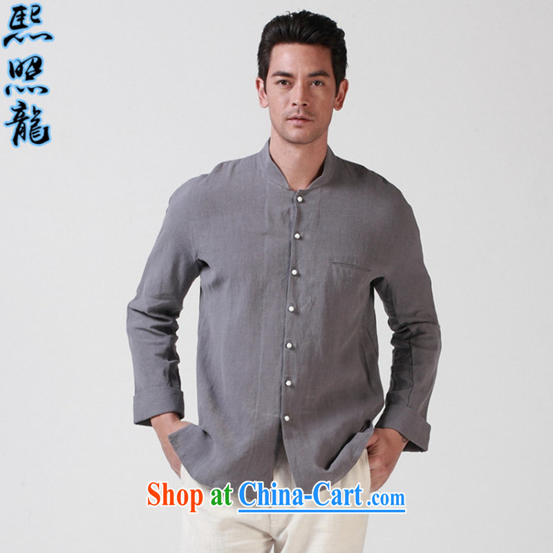 Mr Chau Tak-hay, snapshot original Buddhist 7 PO and rightful place tie men loose Chinese solid long-sleeved shirt Chinese shirt white XL, Hee-snapshot lung (XZAOLONG), online shopping