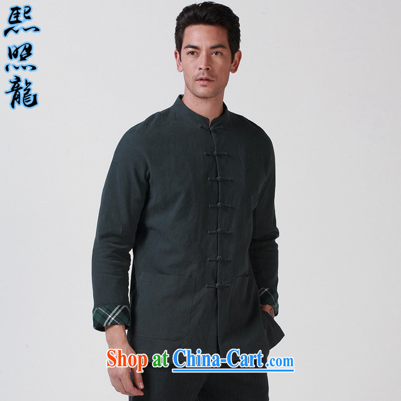 Mr Chau Tak-hay, snapshot 2014 autumn and winter, the Yau Ma Tei Cotton Men's Chinese long-sleeved jacket cynosure serving thick China wind jacket green XL