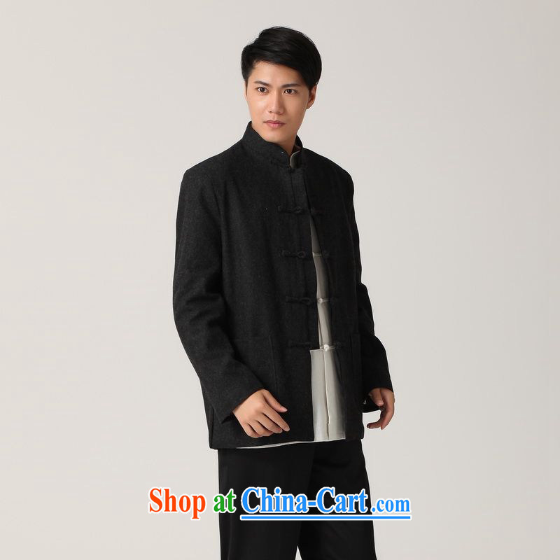 An Jing men Tang with long-sleeved T-shirt and smock, for national wind, served black Tang jackets - 3 black XXXL