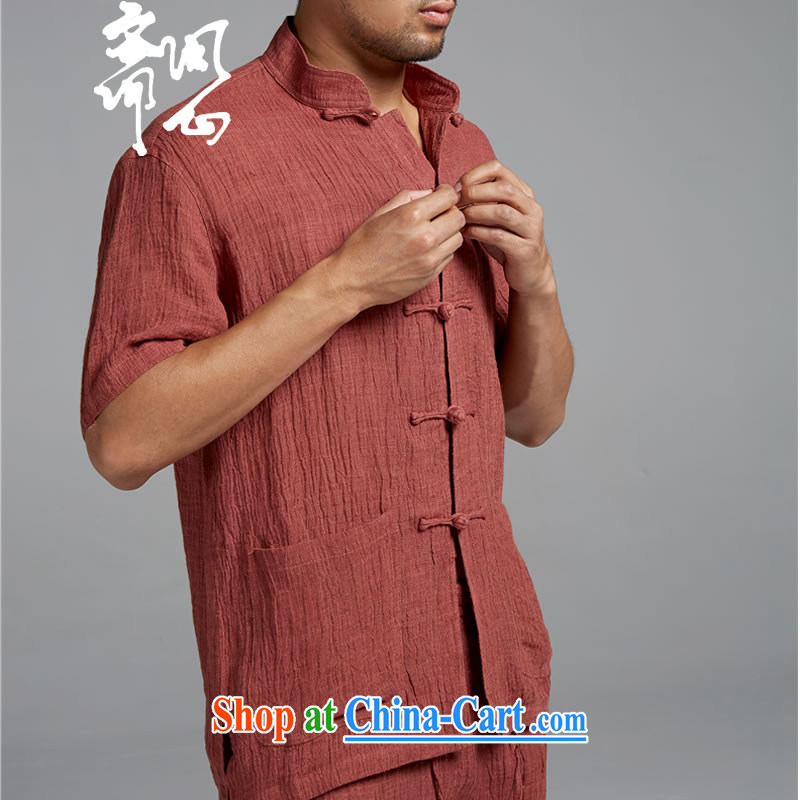 Ask a vegetarian _and health and, for the charge-back T-shirt with short sleeves shirt plain linen WXZ 1374 rusty red XXXL