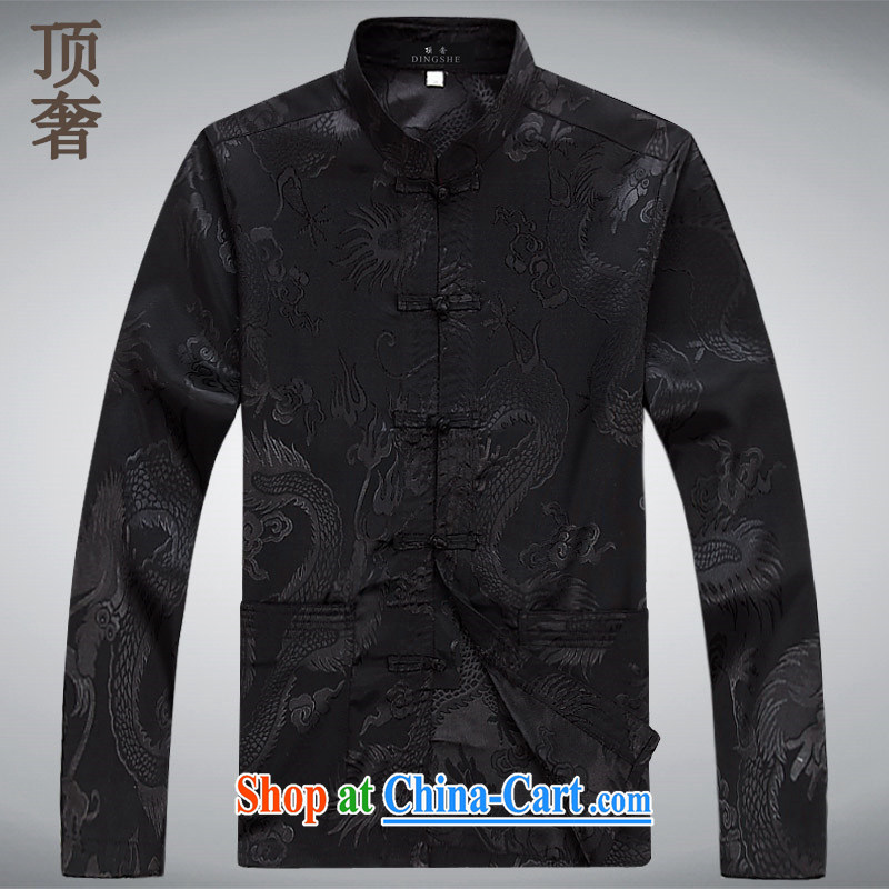Top Luxury Tang replace long-sleeved men and 2014 new men's jackets jacket National wind-buckle older Chinese T-shirt Dad jacket men Tang black long sleeved M/165