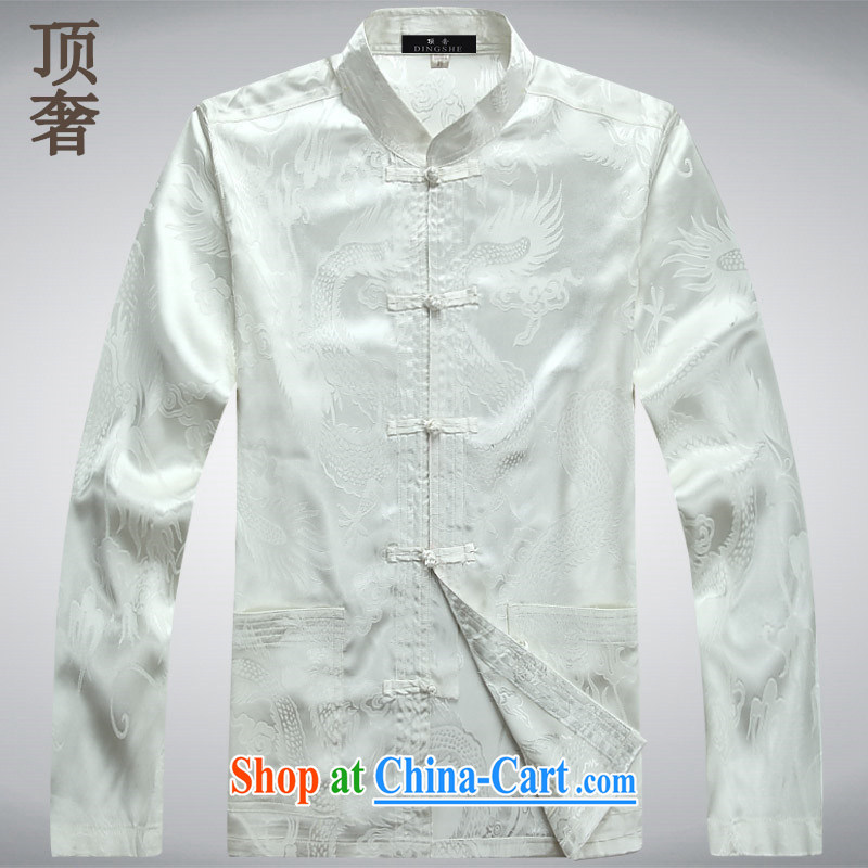 Top Luxury Tang with long-sleeved men and 2014 new men's jackets jacket National wind-buckle older Chinese T-shirt Dad jacket men Tang black long sleeved M/165 and the top luxury, shopping on the Internet