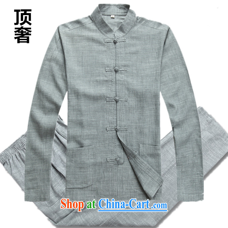 Top Luxury men's Tang is set long-sleeved men's package, the package of linen long-sleeved thin disk for national costume bed Warranty Package Chinese linen gray package XXXL/185