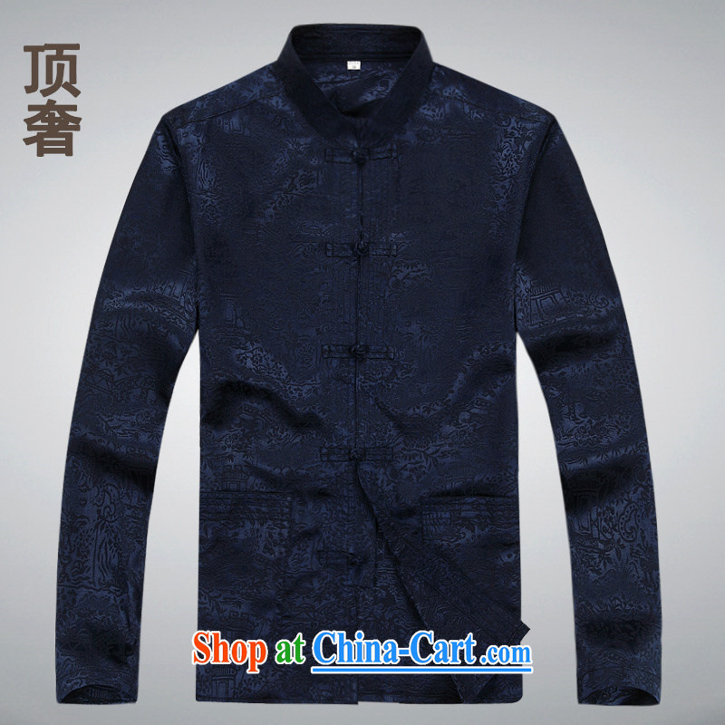 Top Luxury thin Chinese men's long-sleeved 2014 spring jacket, T-shirt silk China wind-buckle old men Tang with 8601 Won-yong XL long-sleeved blue M 170