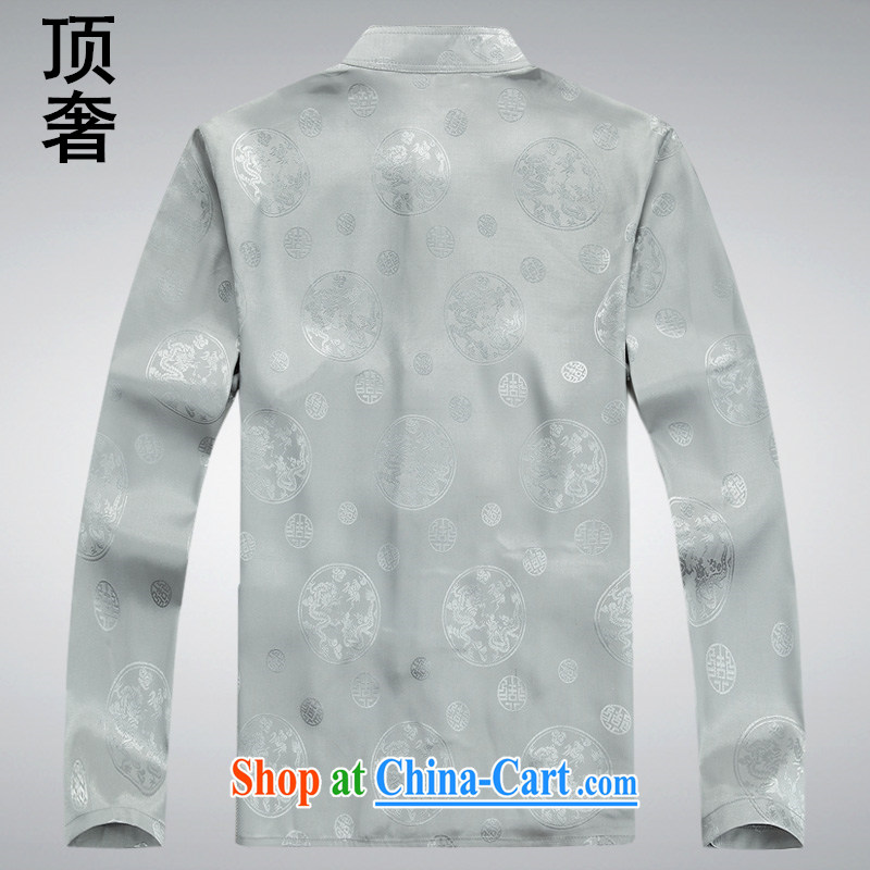 Top Luxury thin Chinese men and long-sleeved 2014 spring jacket, T-shirt silk China wind-buckle old men Tang with 8601 Won-yong XL long-sleeved blue M 170, top luxury, shopping on the Internet