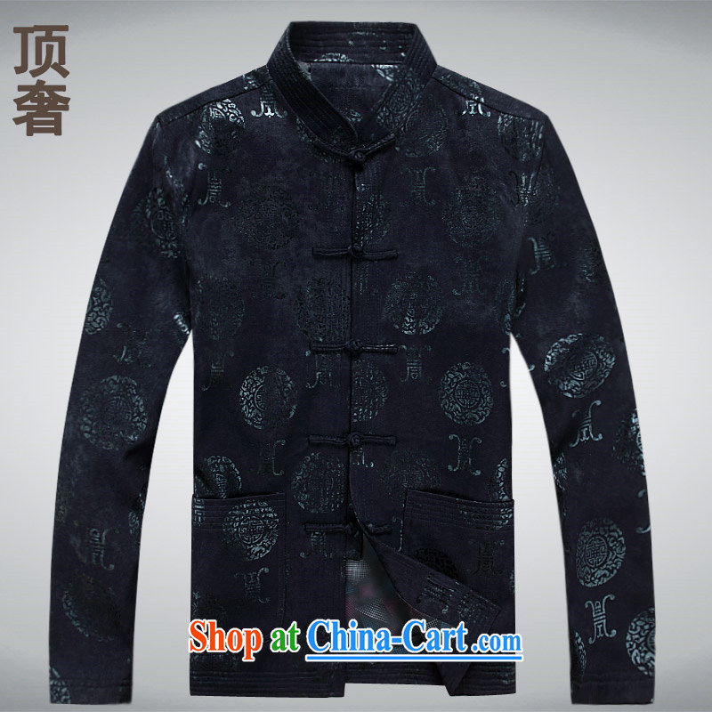 Top Luxury 2014 autumn and winter, men's long-sleeved Ethnic Wind-buckle older Tang jackets T-shirt Dad load the tray charge xxxl blue long-sleeved XXXXL_190