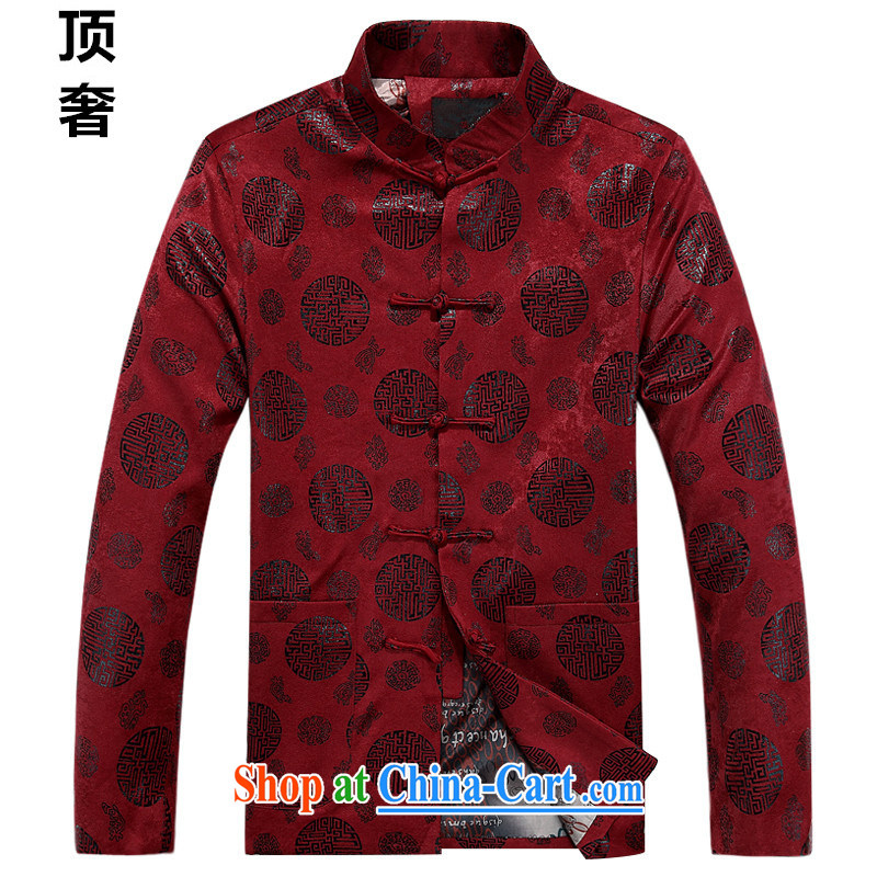 Top luxury Chinese T-shirt autumn and winter, thick men's jackets China wind Classic tray snaps loose version folder in basket older jacket red New Round-hi, new round-hi, the red single XXXXL/190