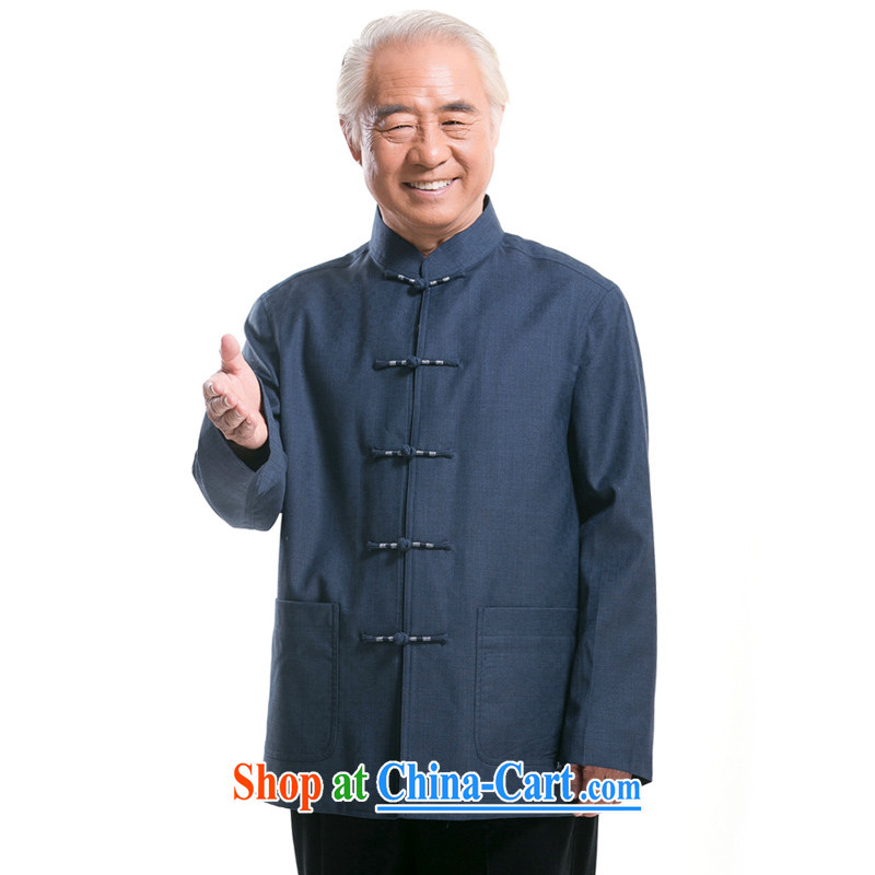 F 1321 men's 14 new fall and winter with long-sleeved Chinese men, elderly Chinese men Tang jackets blue XXXL_190