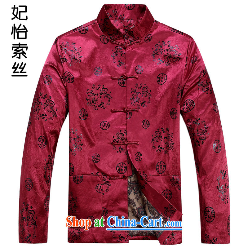 Princess Selina CHOW in China wind-buckle Tang fitted T-shirt men's autumn 2015 the Tang jackets T-shirt, old men's father is long-sleeved Chinese T-shirt men's red XXXL