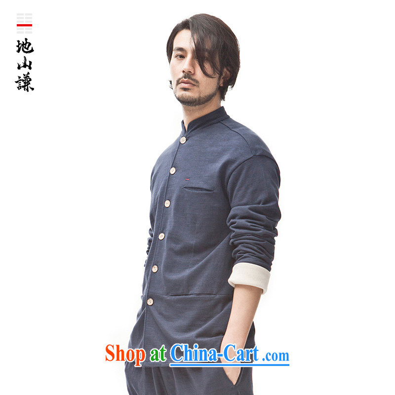 To Hill him China wind coin, neck jacket men's fashion T-shirt retro cultivating Chinese cardigan Zen autumn and winter blue XL