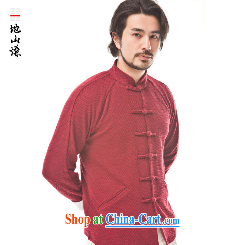 To Hill him China wind Chinese men cultivating Long-Sleeve Chinese knit-zen national costumes the Snap wine red giant _XL_
