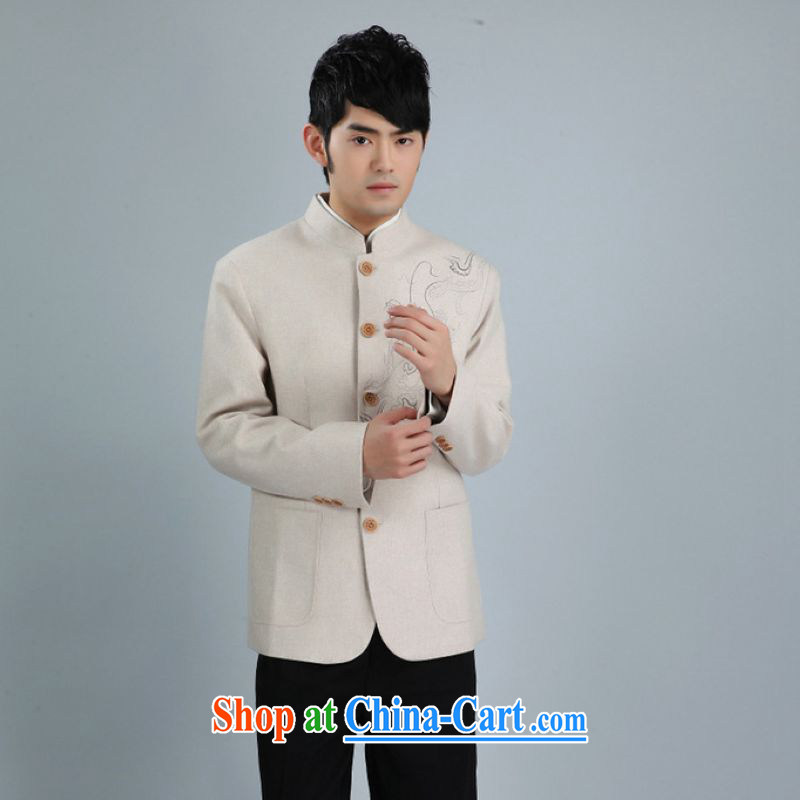 An Jing men's smock jacket and collar wool? Tang jackets men Tang with long-sleeved jacket white XXXL