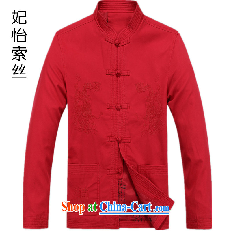 Chinese men and long-sleeved T-shirt the life jacket, the Tang with autumn 2014 the male Tang with thick long-sleeved T-shirt, ethnic wind Male Red L