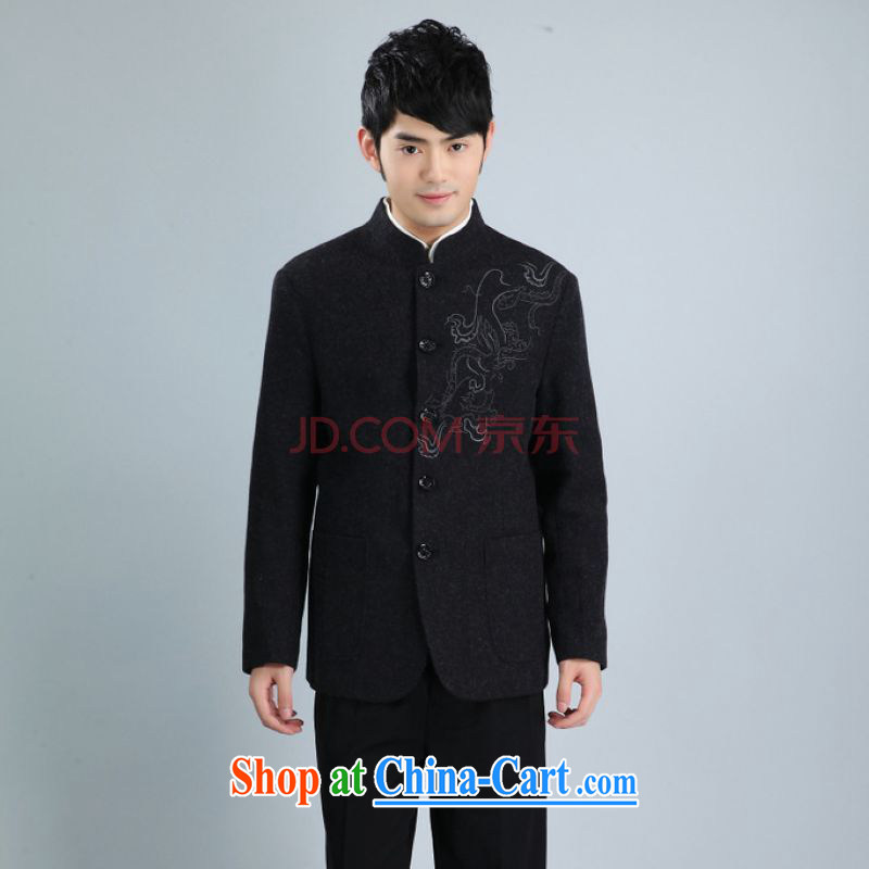 The frequency and smock jacket and collar wool? Tang jackets men Tang with long-sleeved jacket black 3 XL