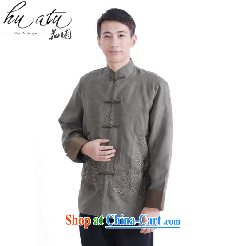 Spend the autumn and winter, the male Tang is a leading Chinese improved long-sleeved smock chicken skin lint-free national Tang jacket coat 46 green XL
