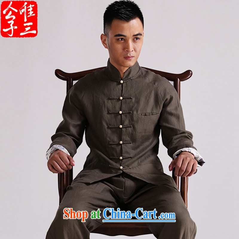 Only 3 Chinese wind Banyan retreat Chinese men and linen Chinese jacket men's leisure Nepal meditation national costumes and army green movement (XXL)