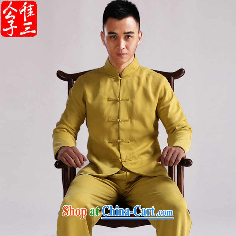 Only 3 Chinese wind Tianfu star grand day retreat, clothing and the detained Chinese men Chinese jacket dress new spring, yellow Kang Seok _XXL_