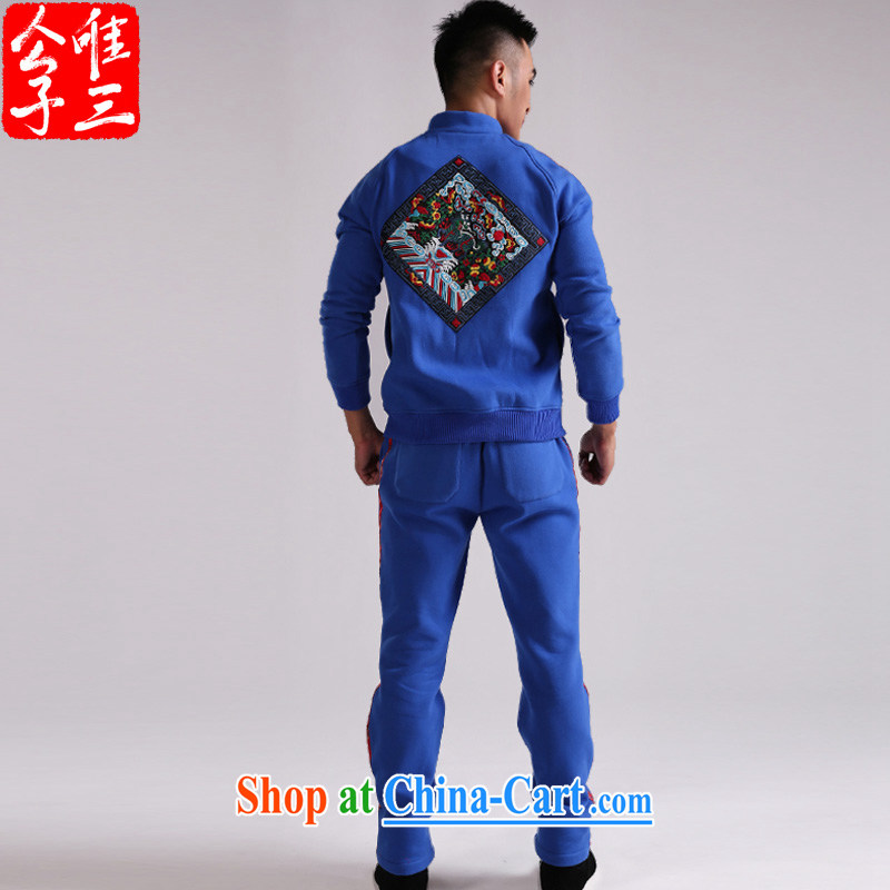 Only 3 Chinese style 4 name also improved Chinese beauty of Chinese, Yi package the lint-free cloth thick sportswear autumn blue iron hand movement _XXL_